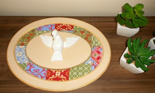 Esplendor Espírito Santo - decoupagem tecido azulejo - E00